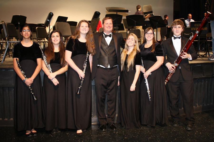 All-County Symphonic Band: Manar Basir, Sarah Harkness, Genevieve Benzinger, Mr. Daren Kirsh (guest conductor from Grafton High School), Hanna Cottrell, and Mathew Tignor.