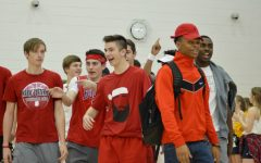 JV Boys Wrestling enters at the pep rally.