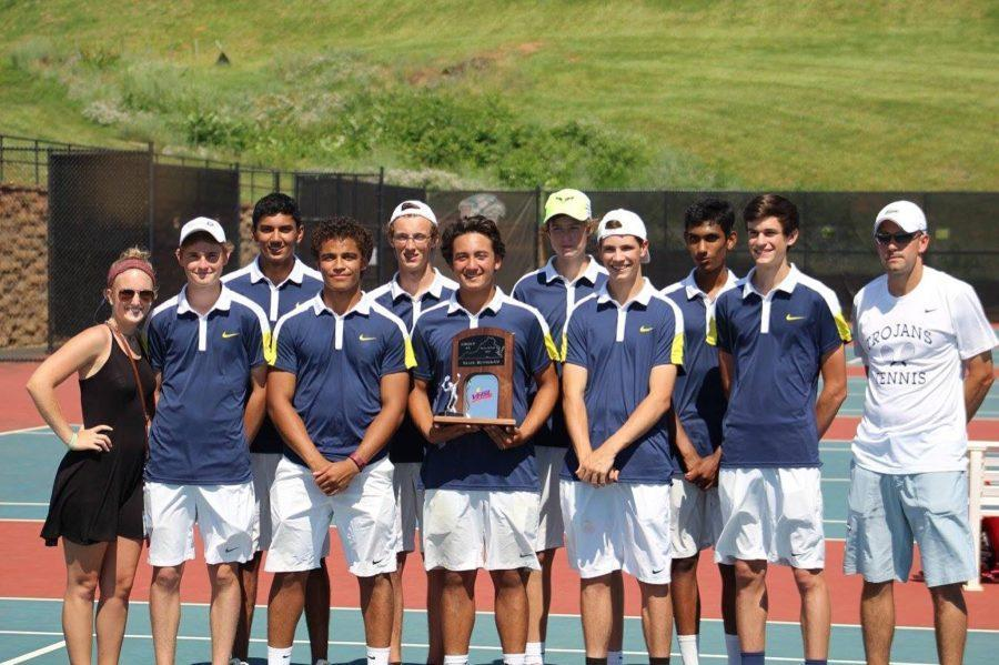 The+2015-2016+Varsity+Boys+Tennis+team+proudly+holding+their+Regional+Championship+Trophy.++