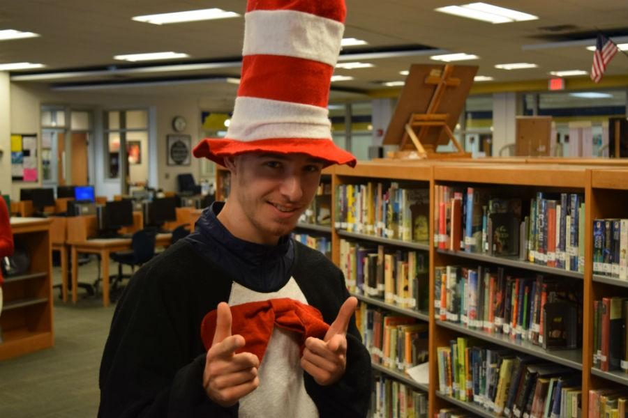 Simon Ludwig embodies the Cat in the Hat for Dr. Seuss Day.