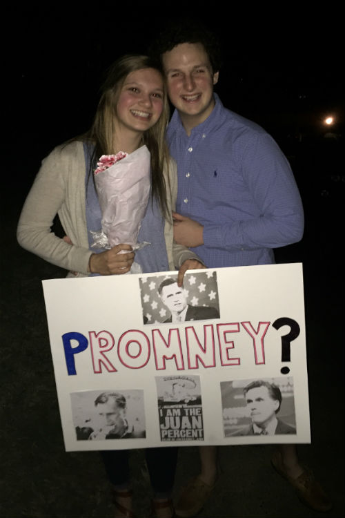 Junior+Bobby+Stout+asked+junior+Ally+Gleason+to+prom+with+a+Mitt+Romney+poster.