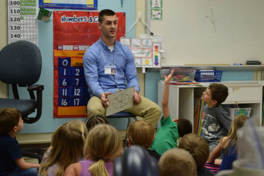 Jonathan Rogers teaches a fraction lesson to a kindergarten class at JBWES.