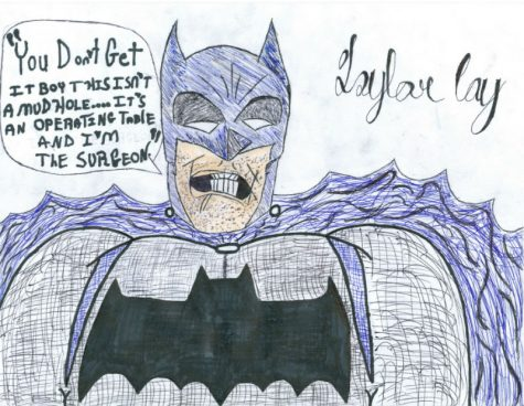 "Taylor Coy drew this piece, titled Batman: Incorporated. He says,  ""The inspiration that helped me draw this first in pencil then in pen drew from Frank Miller"