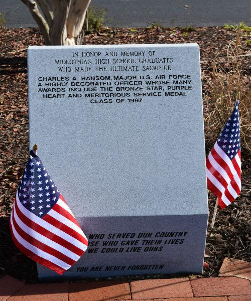 The stone memorial for Major Charles Ransom at the War Memorial