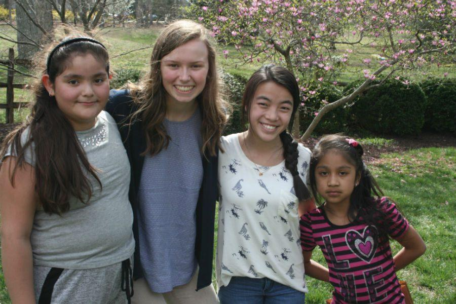 Phoebe+and+Chloe+smile+with+their+kids+during+the+Easter+Egg+Hunt.+Apply+to+become+a+Homework+Helper+today%21