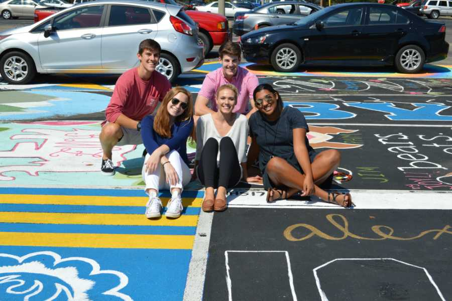 2017 Senior Class Officers show their style and personalities with festive parking spots.