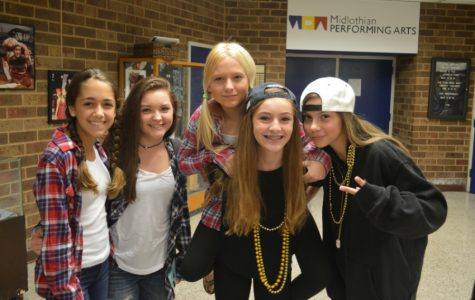 On Tour Tuesday:  Sophia Nadder, Sydney Sowers, Chloe Kochensparger, Mckenna Fecht, and Courtney Klich show off their school spirit with gold chains and flannel shirts.