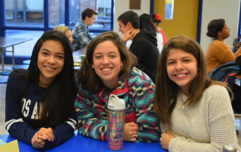 Mariah Rodriguez, Mackenzie Fuller, and Brianna Denton enjoy breakfast together.