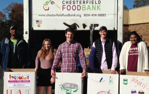 Senior Class Officers sending off the collected food.