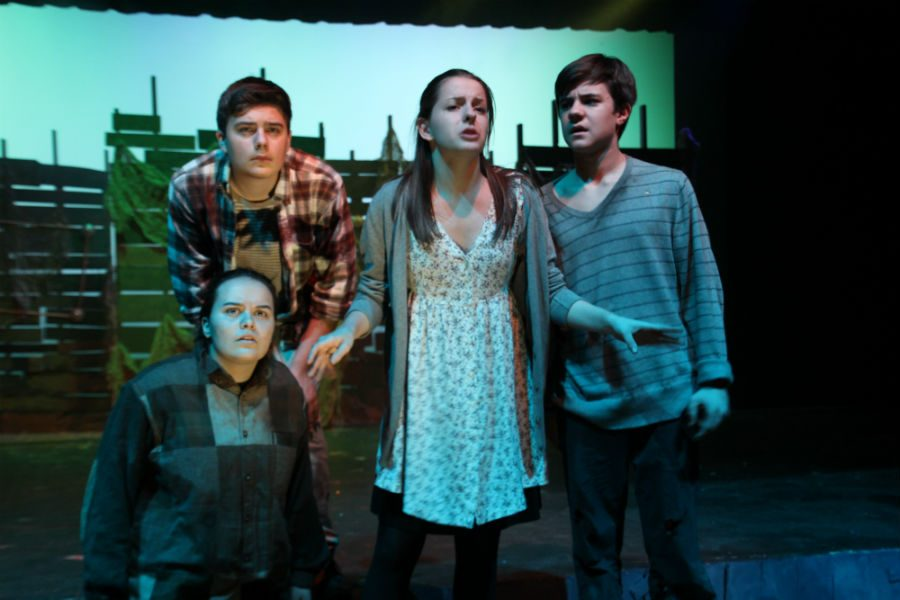 Eryn Marsh, Drew Durren, Hannah Hodges, and Bryan Davies in Peter and the Starcatcher.