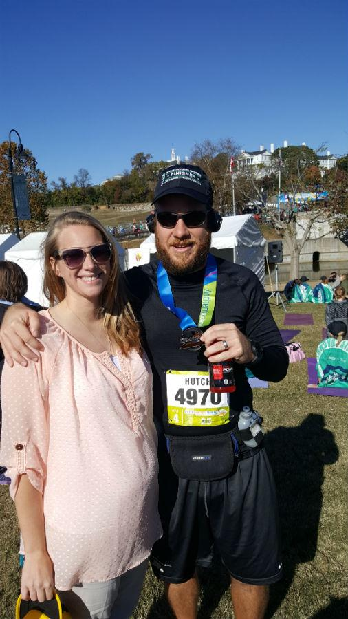 Mr. and Mrs. Hutchings  celebrate the completion of the Richmond Marathon.
