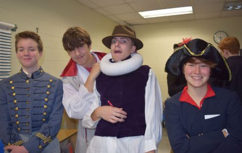 Holden Wilson, Aj Moraski, Lucas Chazo, and Marisa Ruotolo break out their costumes and smiles for the project