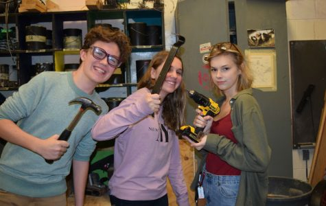 Sebastian Knaupp, Sydney Costantino and Ellie Whitt show off their tools