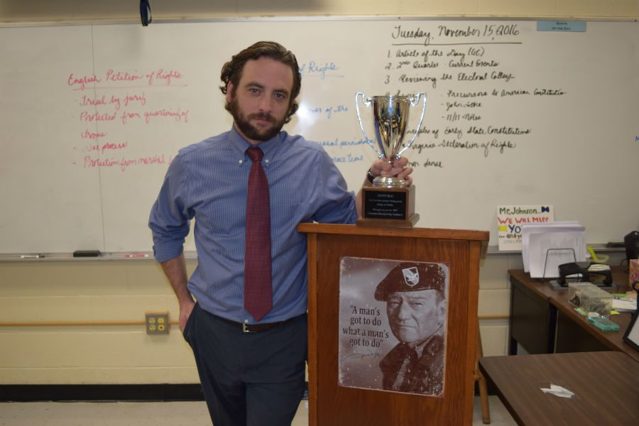 Social+Studies+teacher+Mr.+Timothy+Johnson+is+the+new+recipient+of+the+Teachers+Recognizing+Teachers+award+for+his+continuous+creativity+and+service+to+Midlo.
