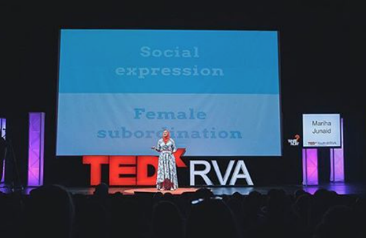 Senior Mariha Junaid speaks at the TEDxYouth@RVA event about her experience as a hijabi.