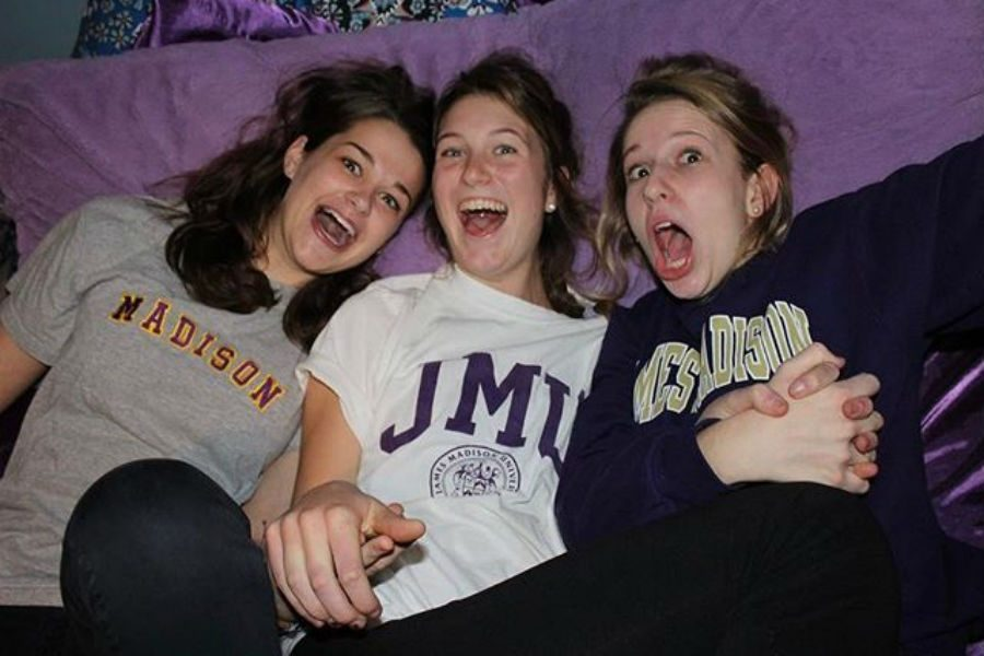 Molly Fletcher celebrates her JMU acceptance with friends Lindsey and Clara