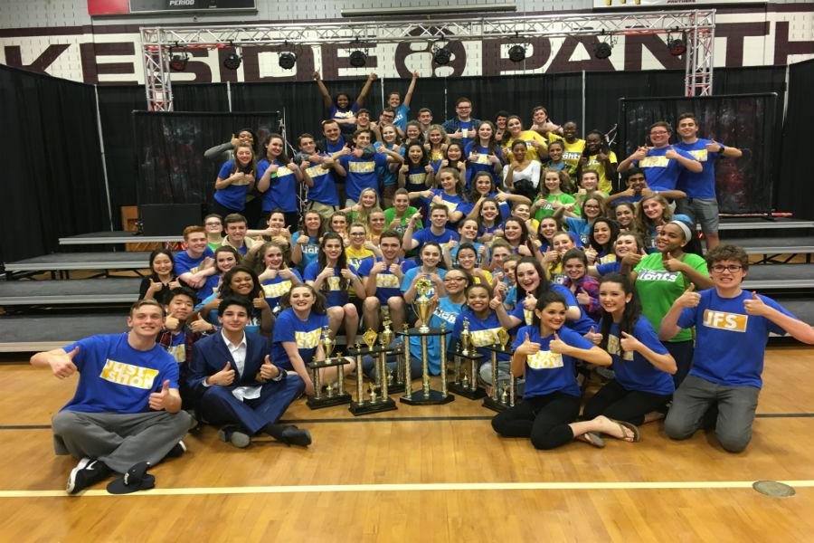 Show Choir celebrates a big win at the Georgia Vocal Invitational on February 25, 2017.