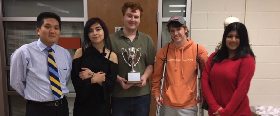 Scholastic Bowl Team wins Regional Championship on February 4, 2017. Pictured (left to right): Mr. Ben Java, Monika Knecht, Hayden Calhoun, Dillon Powell, and Nadia Hassan