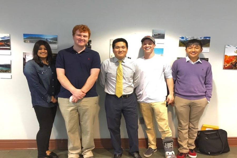 Scholastic Bowl States: (from left to right) Nadia Hassan, Hayden Calhoun, Mr. Java, Dillon Powell, and Jinwoo Kim celebrate 4th place.
