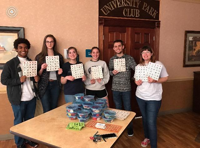 MHS National French Honor Society visits The Laurels at University Park Nursing Home for Bingo service project.