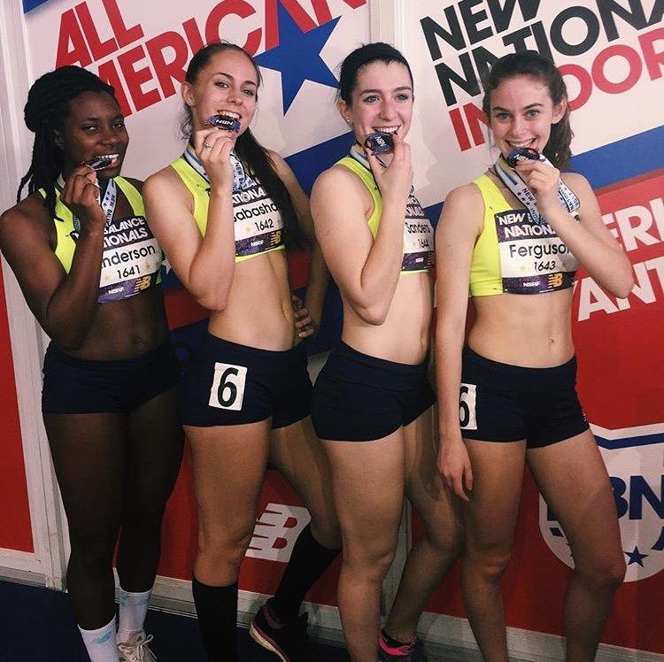 Midlothian Girls SMR places 3rd at New Balance Nationals. Pictured left to right: Madison Anderson, Erin Babashak, Addison Sanders, and Ashlyn Ferguson.