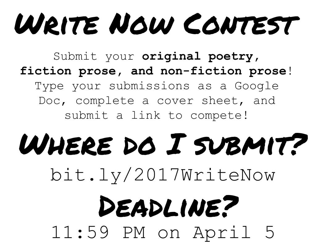 Submit now at: bit.ly/2017WriteNow.