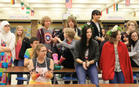 Students wait for a treat at the end of Creative Dress Day.