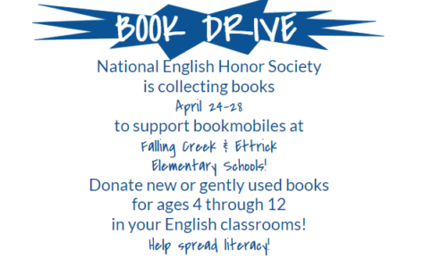 Please donate books to the National English Honors Society Book Drive.
