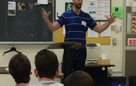 Mr. Andrew Thacker, property manager for S.L. Nusbaum Realty, tells students all about Sycamore Square.