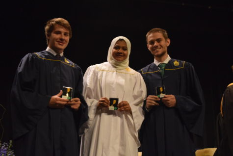 Mac Cartier, Mariha Junaid, and Michael DeMatteo receive honor medals for Forensics and Debate for placing at the VHSL State level.