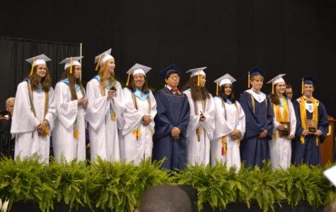 Midlo Class of 2017 Graduation: Class of 2017 Top Ten: (left to right): Molly Fletcher, Cameron Kelly, Grace Clarke, Mackenzie Fuller, Aaron Hou, Mckenna Steele, Nadia Hassan, Garyth Morgan, Nora Mulroy, and Dillon Powell