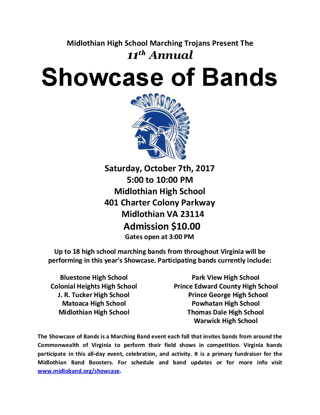 Showcase of Bands: October 7, 2017, from 5-10 pm at Midlothian High School.