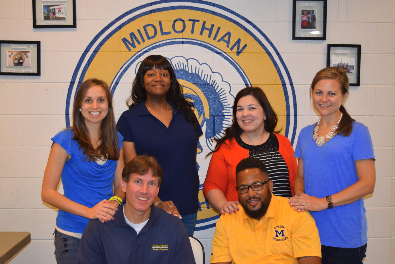 Midlothian High School Counseling Department  (back row, left to right): Mrs. Stacy Shore, Mrs. Loretta Speller, Ms. Laura Brady, and Mrs.    Lawson. (front row, left to right): Mr. Kevin Birmingham and Mr. Darnell Erby.