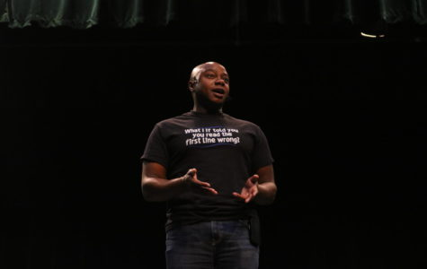 Dr. Mykee Flowlin visited Midlothian High during Teacher Work Week to talk to the faculty members of Midlo, Monacan, James River, and Manchester about diversity and compassion.