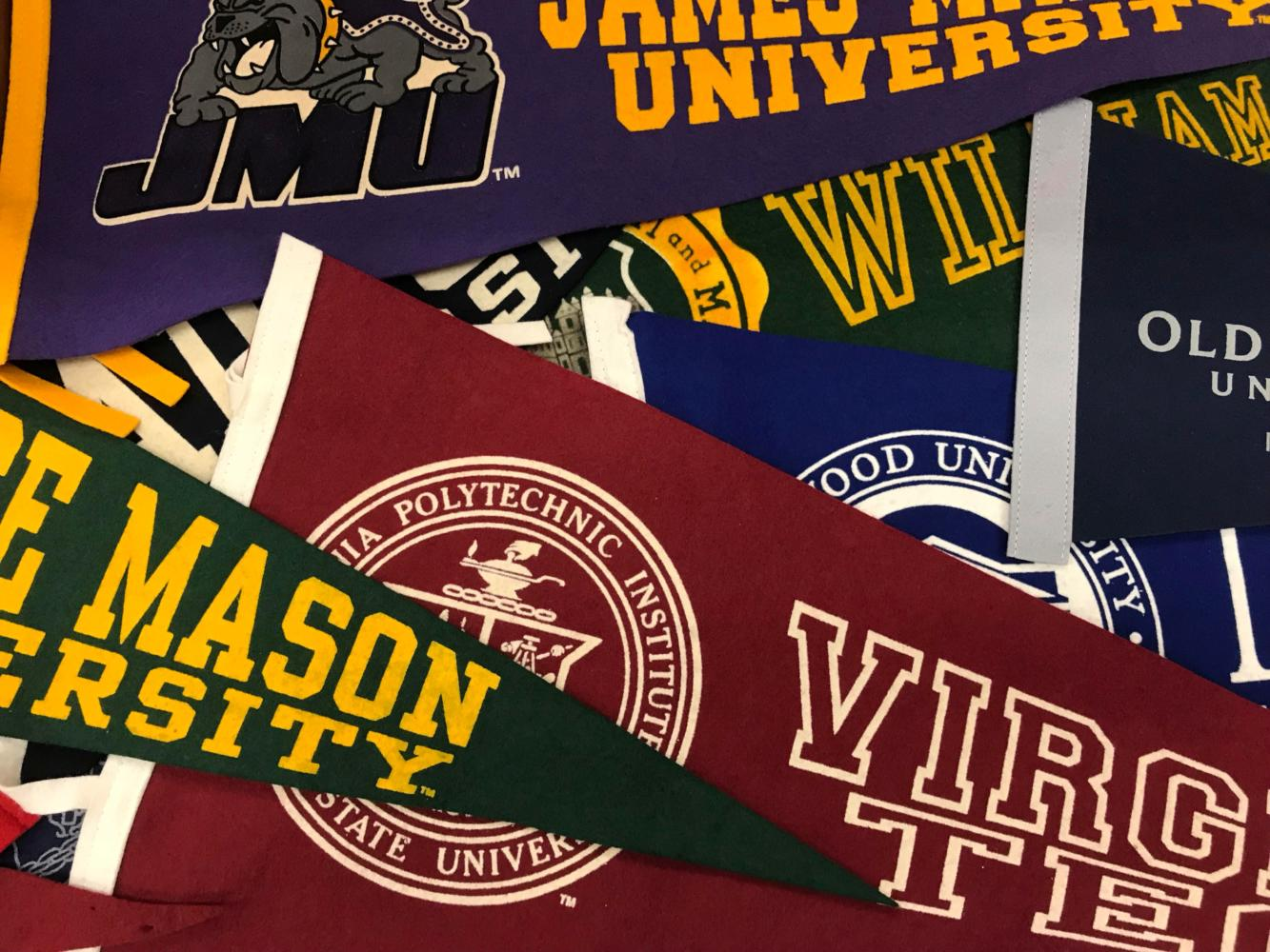 Ms. Martin represents many colleges in her room with colorful banners.