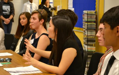 The IB Panel speaks and then answers questions at the IB Open House.