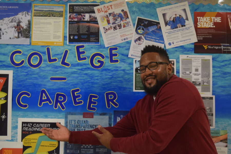 Mr. Erby shows his excitement for the College and Career Center