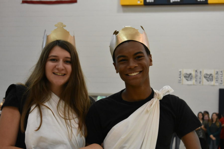 Alyssa Black and BJ Beckwith show their senior spirit during the Homecoming Pep Rally.
