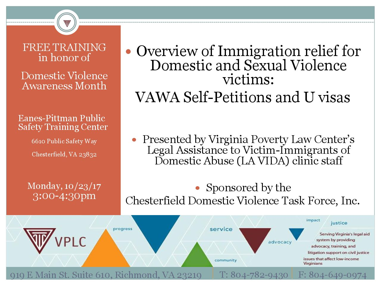 Free Training on Immigration Relief for Victims of Domestic of Sexual Violence
