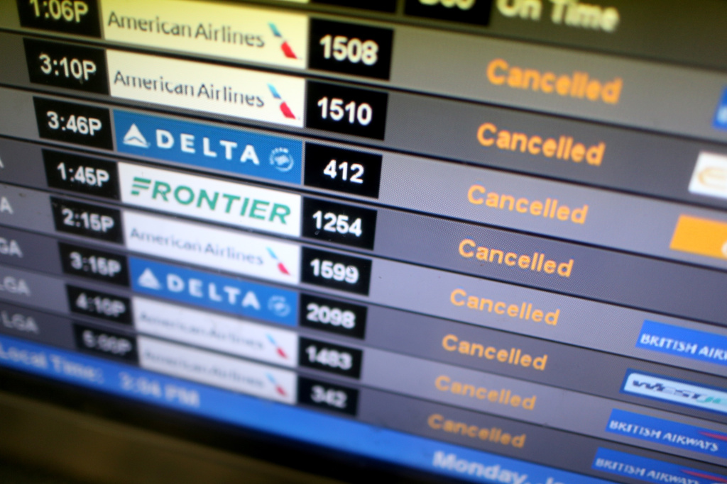 Plan ahead in case holiday flights are cancelled due to weather.