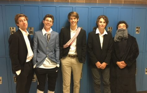 Ethan Smith, Brandon Plascha, Alex Kyte, Ryan South, and Christian Quaglano represent historic figures from the Enlightenment Age.