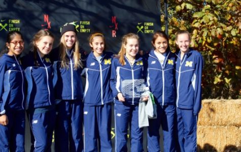 Midlo's Girls XC team celebrates their second place finish.