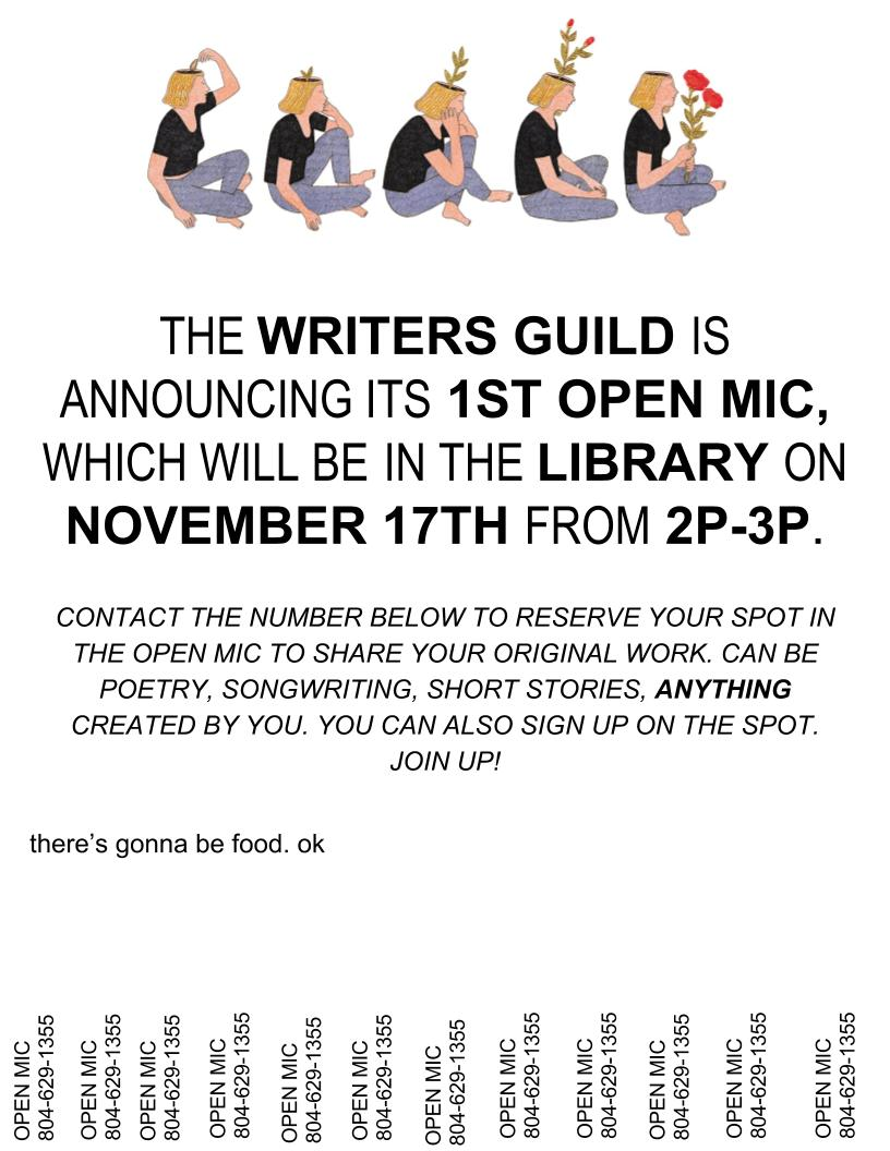 Writers Guild Open Mic; Midlo Library; November 17 at 2:00