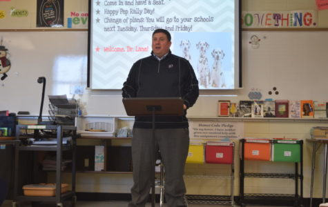 CCPS Superintendent traveled to Midlothian High School to speak to Mrs. Tully's Service Learning class.