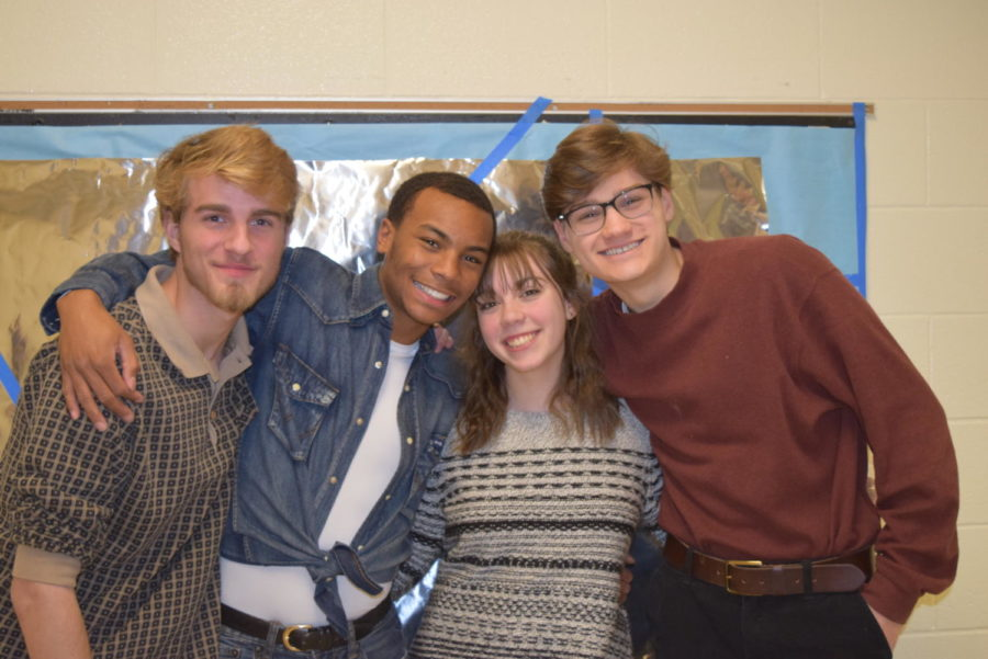 Paul Miller, BJ Beckwith, Hannah Walker, and Conan Darrah celebrate winning the Scholastic Visual Gold Key award.