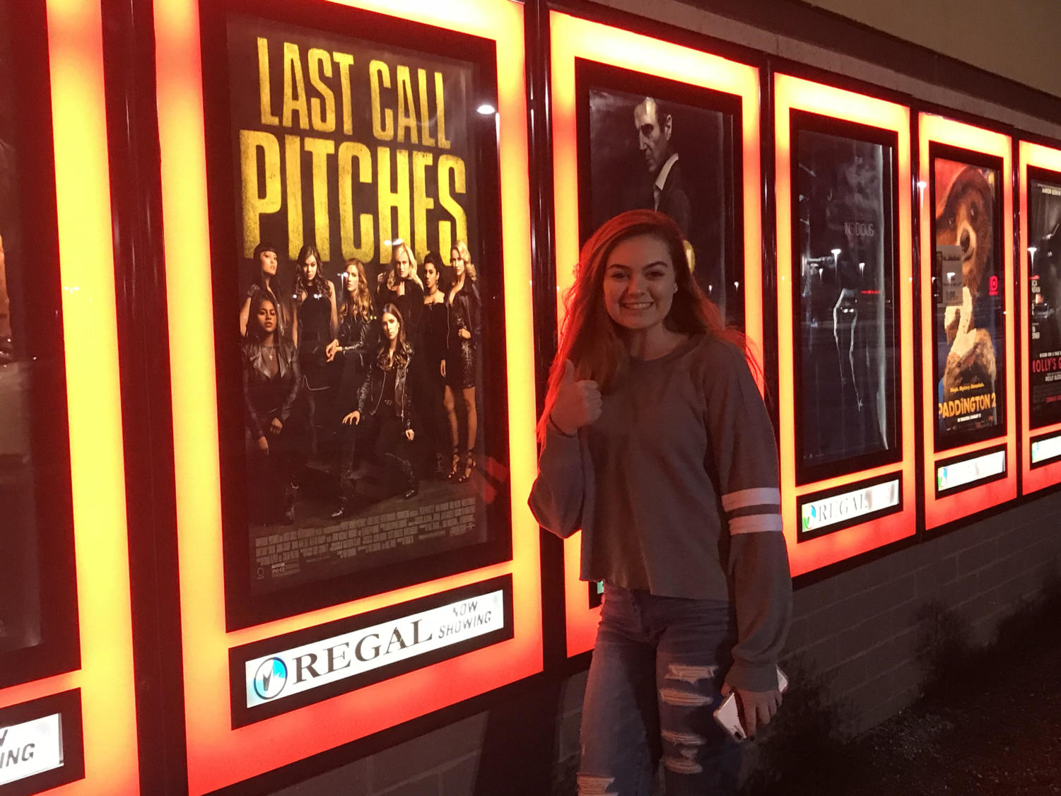 Defying the cold temperatures, Alyssa Marchese prepares to watch Pitch Perfect 3.