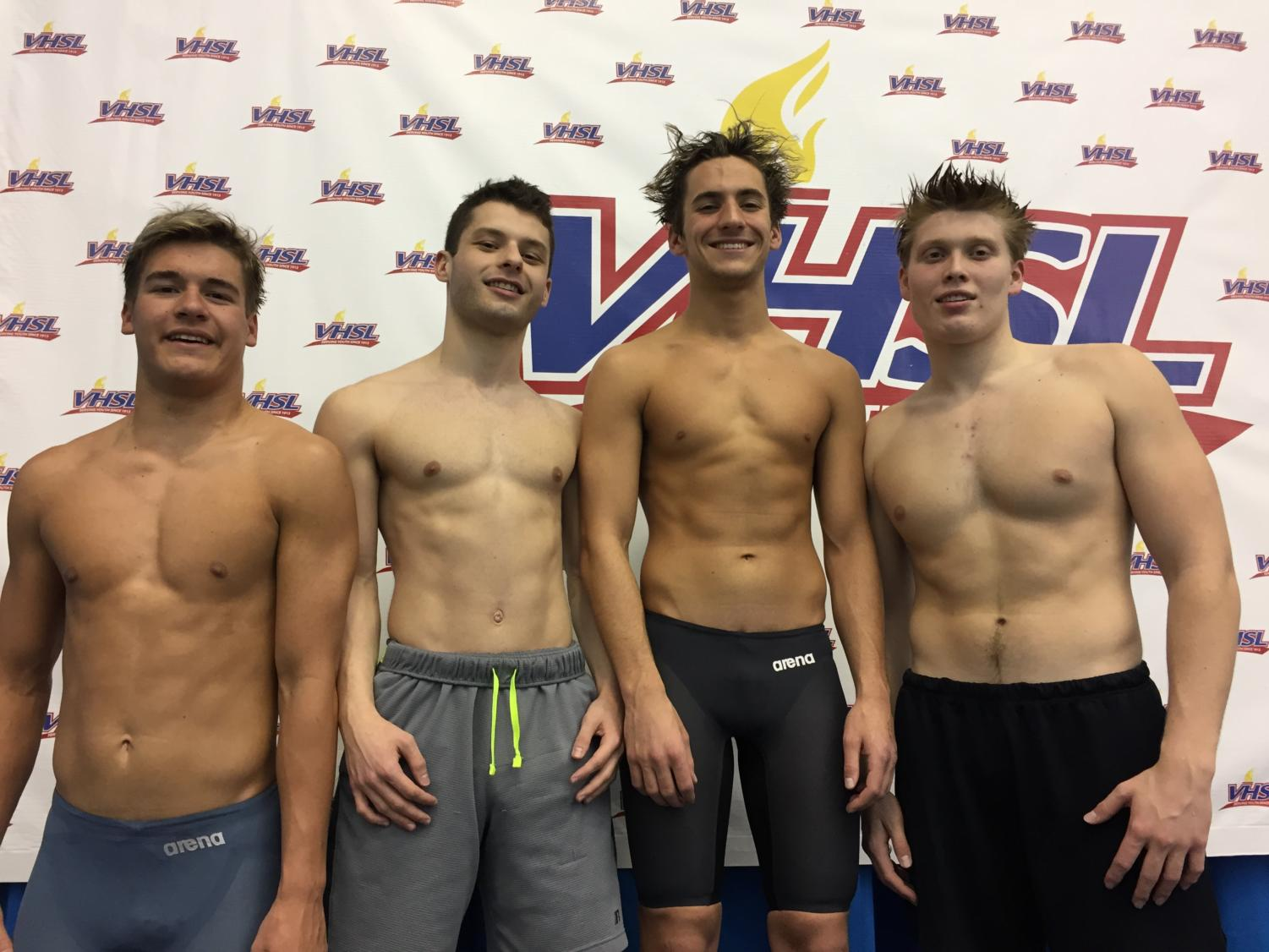Congratulations to Alexi Gentz, Sam Garbera, Casey Branin, and Sam McKey on placing first in the 400 yd relay with a time of 3:29.91,