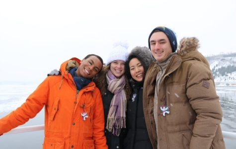 Seniors BJ Beckwith, Claire O'Brien, Joy Li, and Max Turkaly, take a ferry ride to cross the frozen St. Lawrence River.