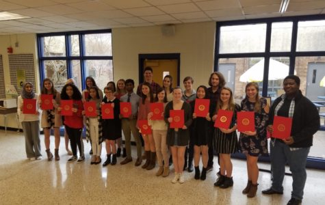 National Spanish Honor Society inductees celebrate their great accomplishment.