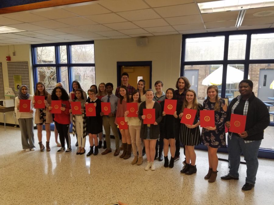 National+Spanish+Honor+Society+inductees+celebrate+their+great+accomplishment.